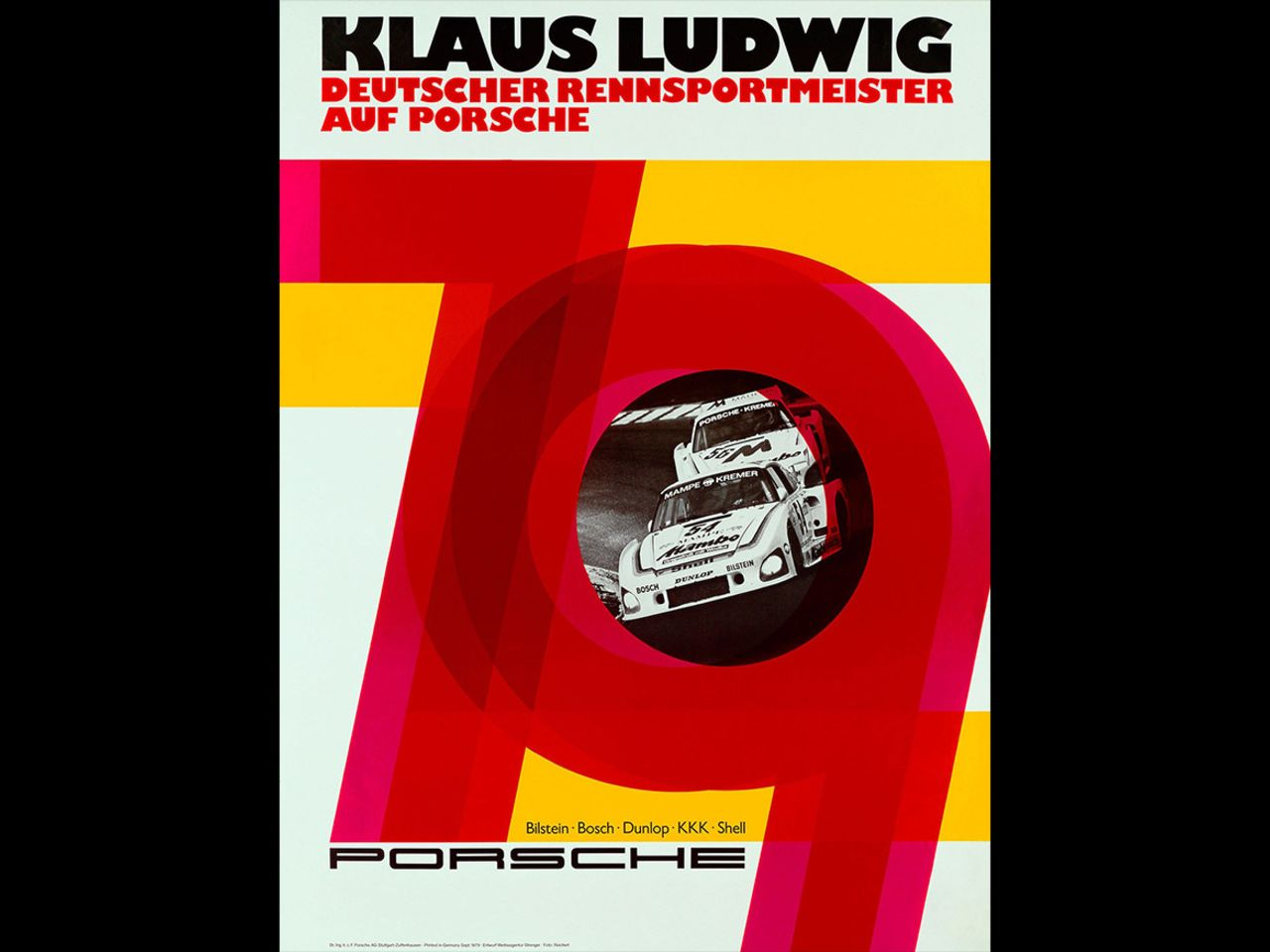 The visuals also reflect the progression of time. This one, which announces Klaus Ludwig's victory in the 1979 German Racing Championship (DRM), contains typical design features of the 1970s.