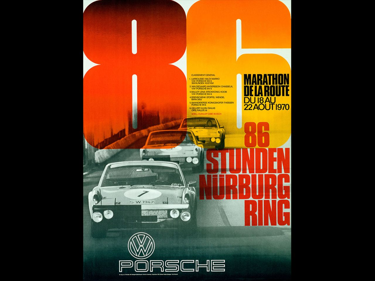 "Yet Strenger remained true to his clear visual idiom. The 914-6 GT ""VW Porsche"" dominated the 86-hour Marathon de la Route on the Nürburgring in 1970, taking the first three places on both the course and the poster."