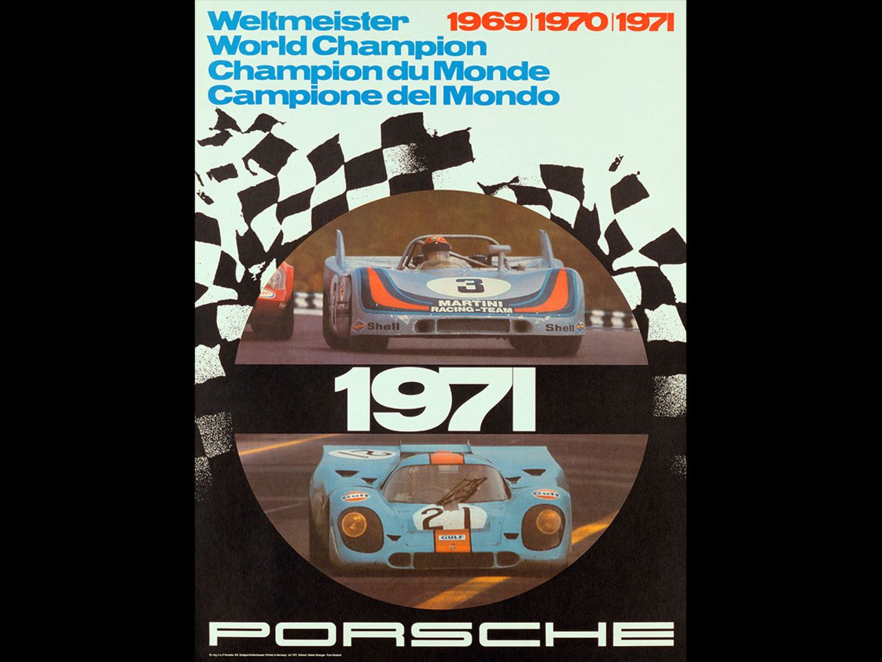 His posters have become cherished collector's items, like this one from 1971, which commemorates Porsche's third successive world championship title at the International Championship for Makes.