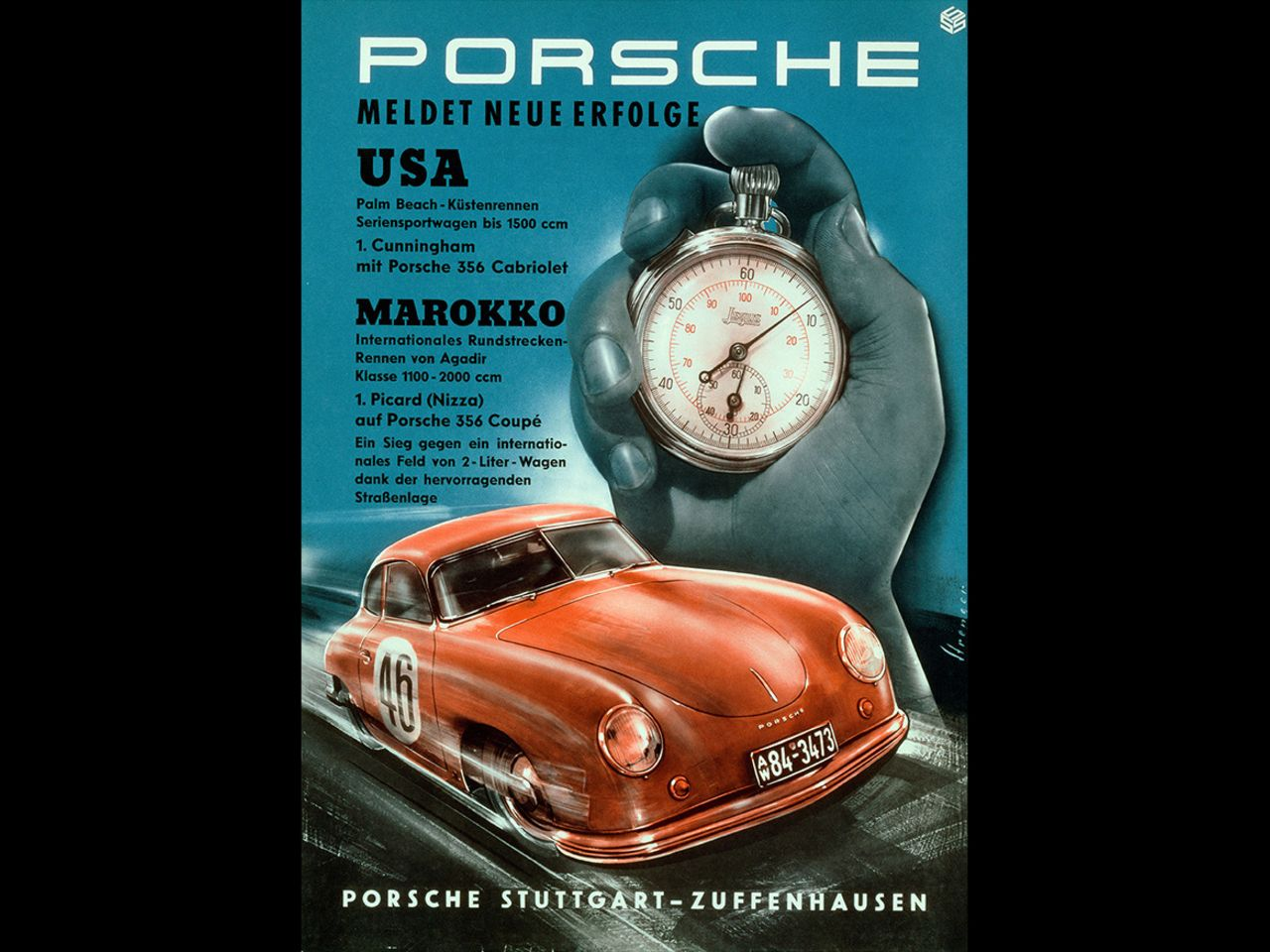 The posters were an important instrument for raising the profile of the young brand. This one was used not only for the class victory in Le Mans in June 1951, but also to announce wins in the USA and Morocco.