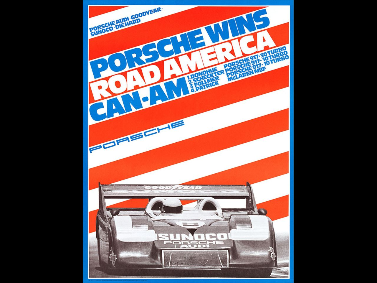 Strenger consistently found new ways to visualize sportiness and speed. This poster celebrates the ultimate race car of 1973, the Porsche 917/30, and its unparalleled win at the Road America Can-Am.