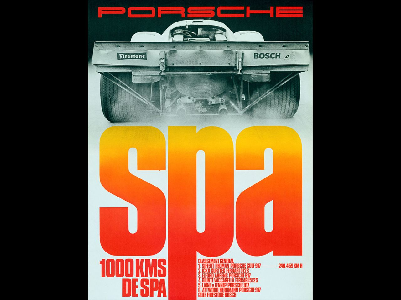 This poster celebrates victory at the 1,000 Kilometers of Spa in 1970.  Erich Strenger often incorporated the national colors of the country in which the race was held ...