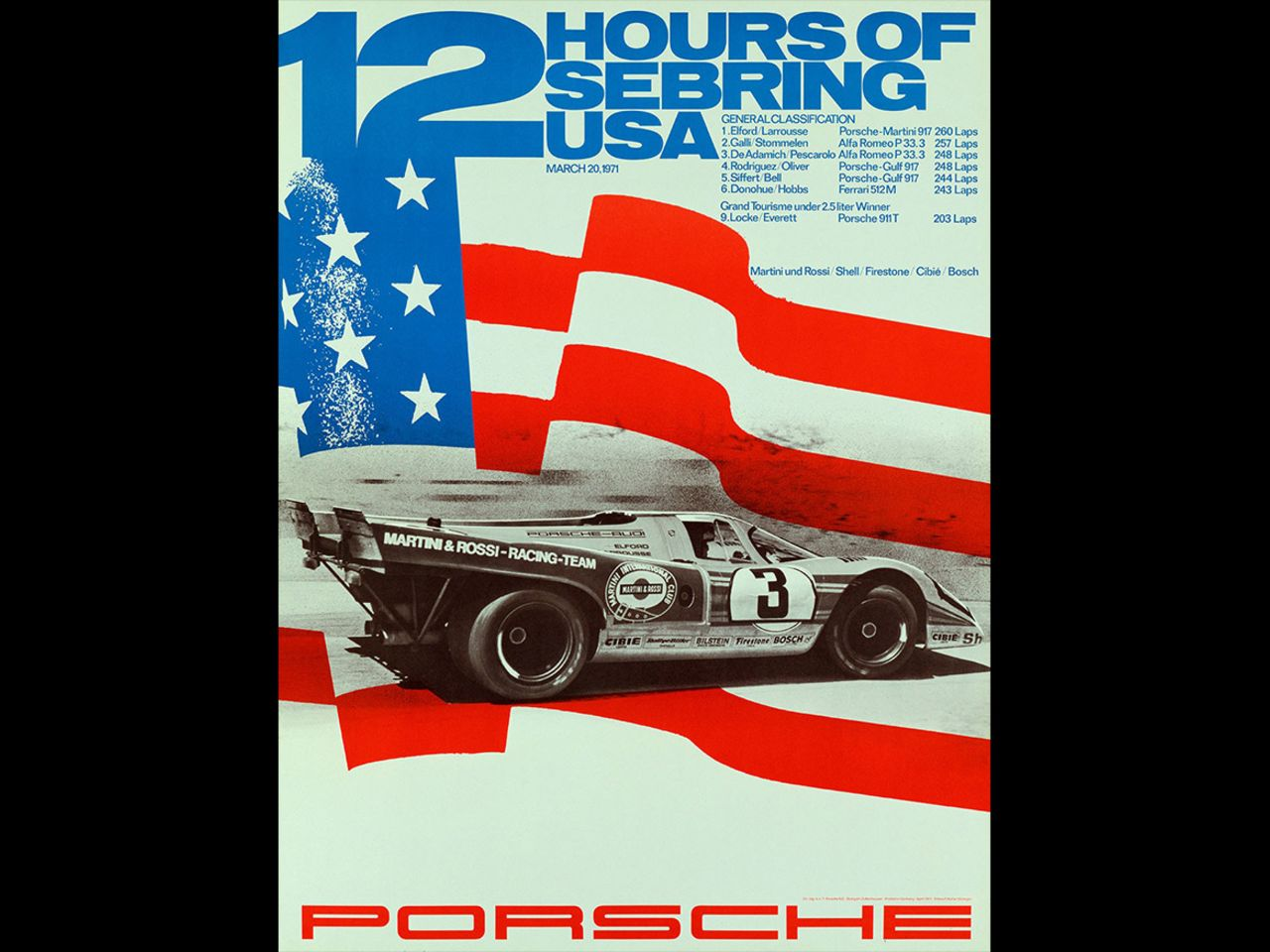 Porsche victories at various long-distance races prompted a succession of new graphic designs, such as this one from the 12 Hours of Sebring in 1971 ...