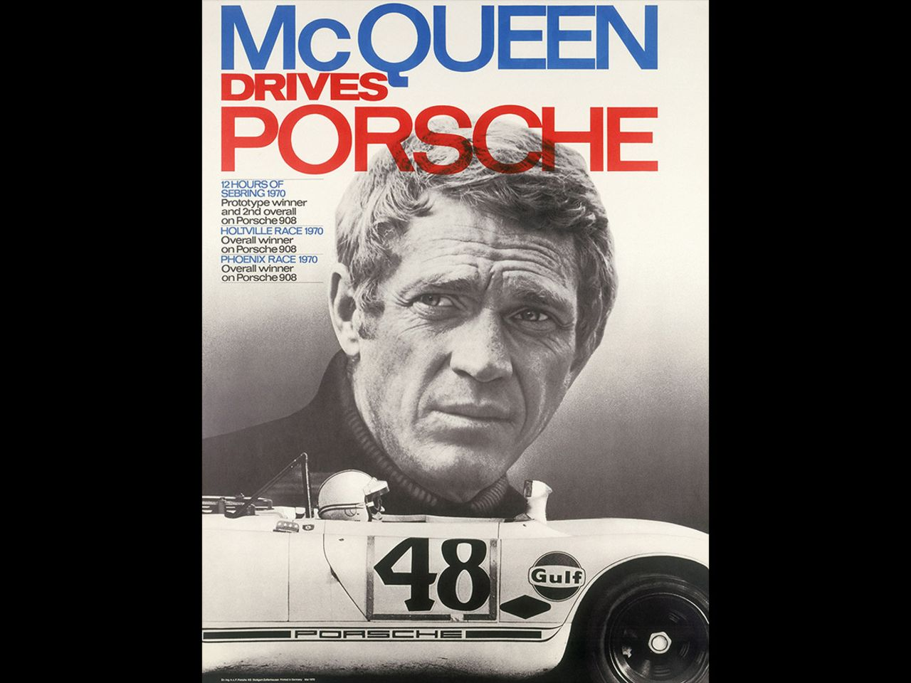 One poster was dedicated to passionate racing driver Steve McQueen. It shows the Porsche 908 that gave McQueen his greatest racing success, a second-place finish in Sebring in 1970.
