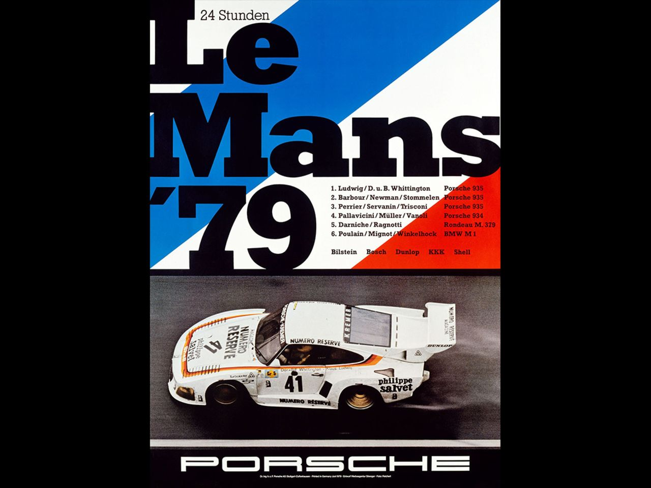 ... into his designs. To mark the triumph at the 24 Hours of Le Mans in 1979, he set the winning Porsche 935 against the drapeau tricolore.